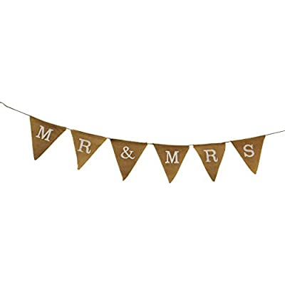 Mr and Mrs Decorative Burlap Jute Flag Banner--Perfect Wedding Decoration!!!
