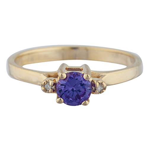 0.50 Ct Created Alexandrite & Diamond Round Ring 14Kt Yellow Gold Rose Gold Silver