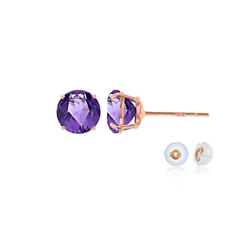 - Genuine 10K Solid Rose Gold 4mm Round Natural Purple Amethyst February Birthstone Stud Earrings