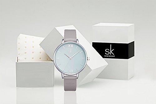 SK Women Watches Leather Band Luxury Quartz Watches Girls Ladies Wristwatch Relogio Feminino (Grey) by SK (Image #6)