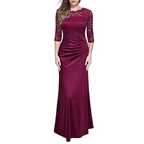 Women's Lace Formal Vintage 3/4 Sleeve Retro Wedding Maxi Dress