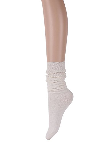 10STAR11 Women's Unique Fall Winter Cotton Colorful Patterned Soft Slouch Over The Knee Socks WHITE,O