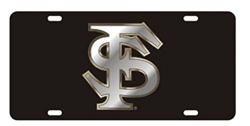 FLORIDA STATE Seminoles Laser Cut Inlaid Mirrored Silver FS Black Plate ()