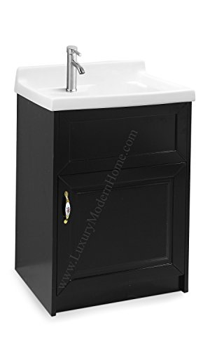 sink ALEXANDER 24'' ESPRESSO Utility Sink - Modern Mop Slop Tub Deep Sink Ceramic Laundry Room Vanity Cabinet Contemporary Hardwood Hard by www.LuxuryModernHome.com