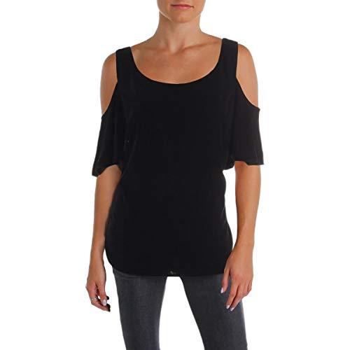 LAUREN RALPH LAUREN Womens Lizabeta Velvet Cold Shoulder Dress Top Black S (Womens Ralph Lauren Sale)