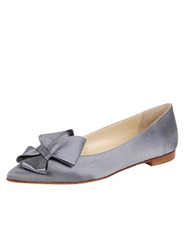 Zapatos De Mantequilla Para Mujer Carly Flat Steel Satén Azul
