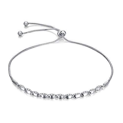 JewelryPalace Marquise 0.4ct Cubic Zirconia Adjustable 925 Sterling Silver - Bracelet Cuff Sterling Delicate