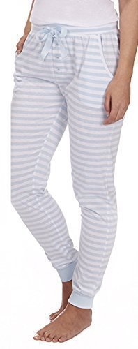 Mujer Algodón De Jersey De Rayas Pantalón De Pijama Azul