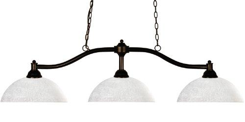 Z-Lite 147BRZ-DWL14 Chance Three Light Billiard, Steel Frame, Bronze Finish and White Linen Shade of Glass Material