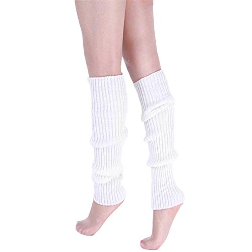 Song Girls Teen 80s Dance Plain Ribbed Women Knit Crochet Long Leg Warmers Fancy Dress -