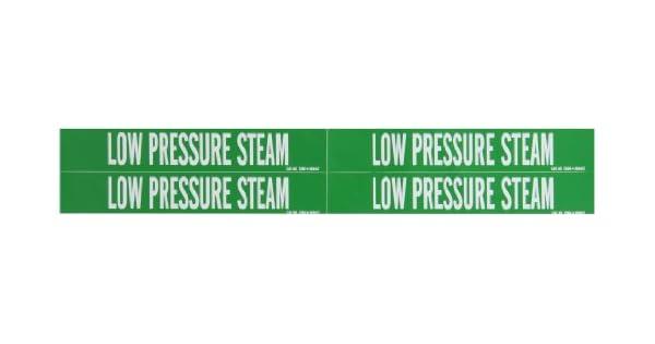 Legend Low Pressure Steam 1 1//8 Height X 7 Width Legend Low Pressure Steam Brady 7390-4 Self-Sticking Vinyl Pipe Marker White On Green Pressure Sensitive Vinyl 1 1//8 Height X 7 Width B-946