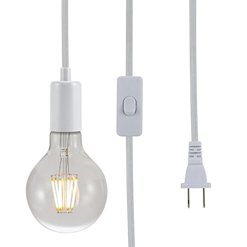 (ASOKO Vintage Pendant Hanging Light Cord, UL Listed Socket Light Cord with Plug, Black Flished Metal Shell, 13ft Woven Fabric Cord, E26/E27 Scoket, in-line ON/Off Switch, DIY Projects (White))