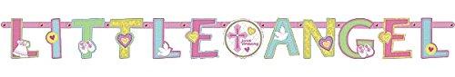 SweetピンクChristening Partyカスタマイズ可能な文字バナー装飾、紙、9 ' x 11