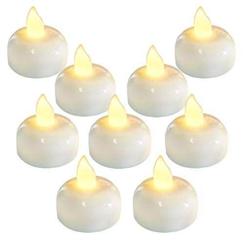 - Homemory 24 Pack Waterproof Flameless Floating Tealights, Warm White Battery Flickering LED Tea Lights Candles - Wedding, Party, Centerpiece, Pool & SPA