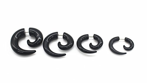 16G Black Spiral Fake Ear Plug Flesh Plugs cheater Tapers UV Acrylic Fashion Ear Piercing Body Jewelry (5+6+8+10mm 4pcs)