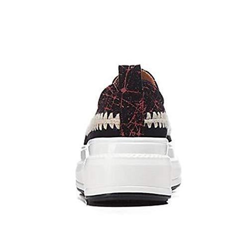 CN35 Rosso UK3 Piatto Donna Montone Per 5 Estate Sneakers US5 Scarpe EU36 Giallo Tonda Red 5 TTSHOES Comoda Punta HqwSaUPP