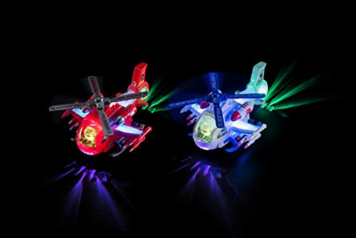 Zetz Brands Firefighter Helicopter Toy for Toddlers with 4D Lights and Sounds - Battery Operated Automatic Propeller Bump & Go Car - Kids Rescue Helicopter Toy