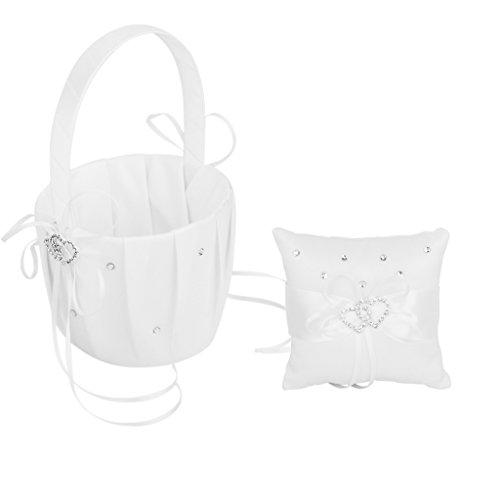 Heart Basket Wedding - Wedding Flower Girl Basket Double Heart Ring Pillow
