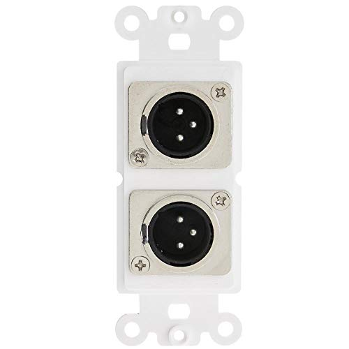 (GOWOS Decora Wall Plate Insert, White, Dual XLR Male to Solder Type)