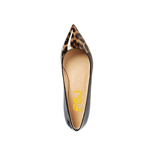 Fsj Kvinder Sexet Leopard Prints Flats Skjulte Lave Hæle Pumper Lukket Spidse Tå Loafers Størrelse 4-15 Os Leopard-gradient RGW1p8