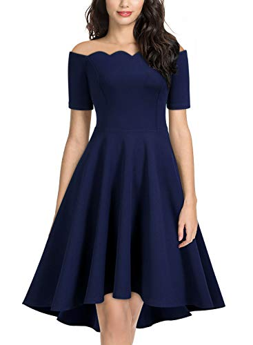 Miusol Women's Retro 1950s Style Short Sleeve Evening Party Dress,Medium,Navy Blue