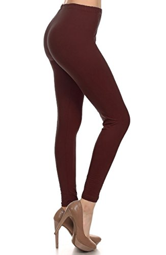 Leggings Depot Ultra Soft Basic Solid Plain Best Seller Leggings Pants (One Size (Size 0-12), Brown)