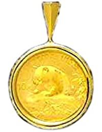 24K 1/10 Oz Chinese Panda Bear Coin Set In 14K Solid Yellow Gold Coin 20Mm Pendant-Random Year Coin