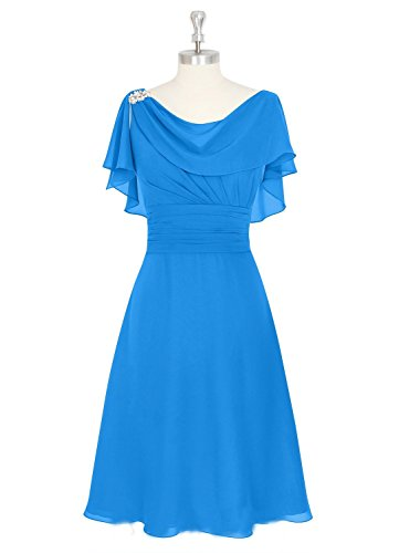 SDRESS Women's Short Chiffon Cowl Neck Mother Bridesmaid Dress Wedding Party Dress Blue Size 8