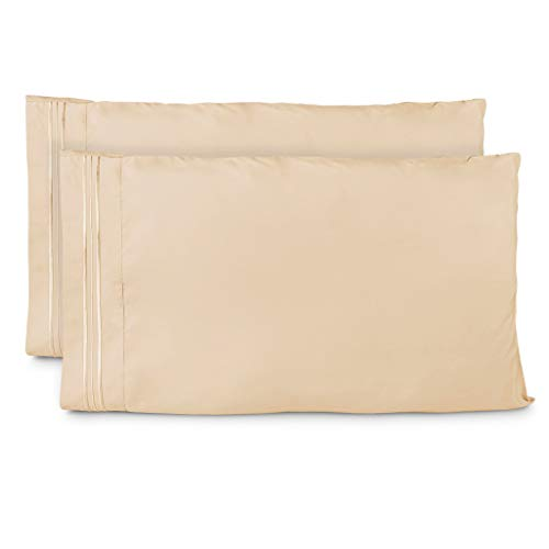 Cosy House Collection Pillowcases King Size - Cream Luxury Pillow Case Set of 2 - Premium Super Soft Hotel Quality Pillow Protector Cover - Cool & Wrinkle Free - Hypoallergenic