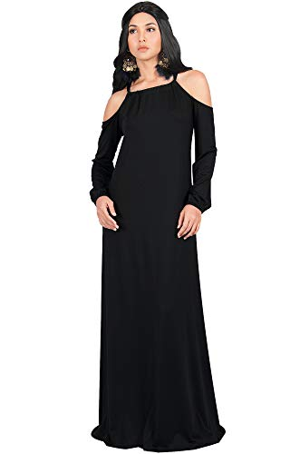 KOH KOH Womens Long Sleeve Sexy Shoulder Out Cocktail Flowy Gown Maxi Dress