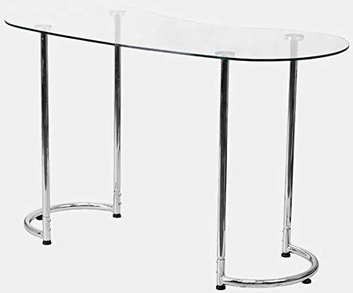 Metal Desk with Glass Top - Oval Writing Desk with Rounded Bottom Legs - Chrome