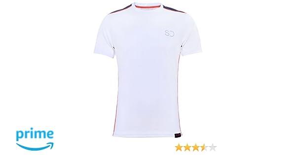 Sundried Tech Camiseta de Entrenamiento para los Hombres Tenis Blancos de Fitness y Gimnasio