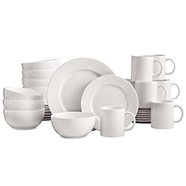 Pfaltzgraff Filigree White 32 Piece Dinnerware Set, Service for 8