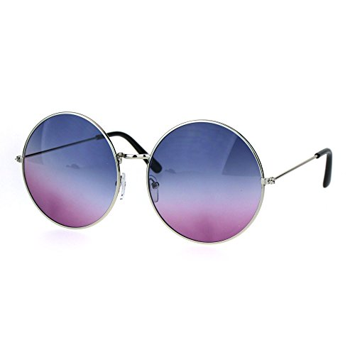 Classic Oversize Joplin Style Hippie Round Circle Lens Sunglasses Silver Blue Purple -