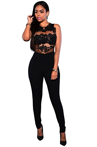 VamJump Women Sexy Summer Lace Bodycon Club One Piece Jumpsuits Rompers Black XL (One Piece Jumper)