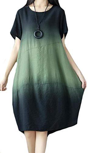 Tang Krere Cuello Medio Pierna Redondo de Vestido para con Verde Color Big Tang Manga tamaño Manga Mujer Larga de a Media Corta rwqf8xTr