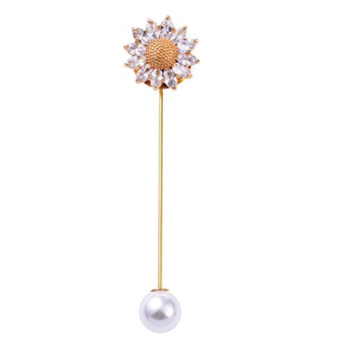 Sunvan Men's Coat Lapel Pin Boutonniere Brooch Sunflower Shaped golden with pure crystal Stones coat Pin (Brooch Crystal Sunflower)