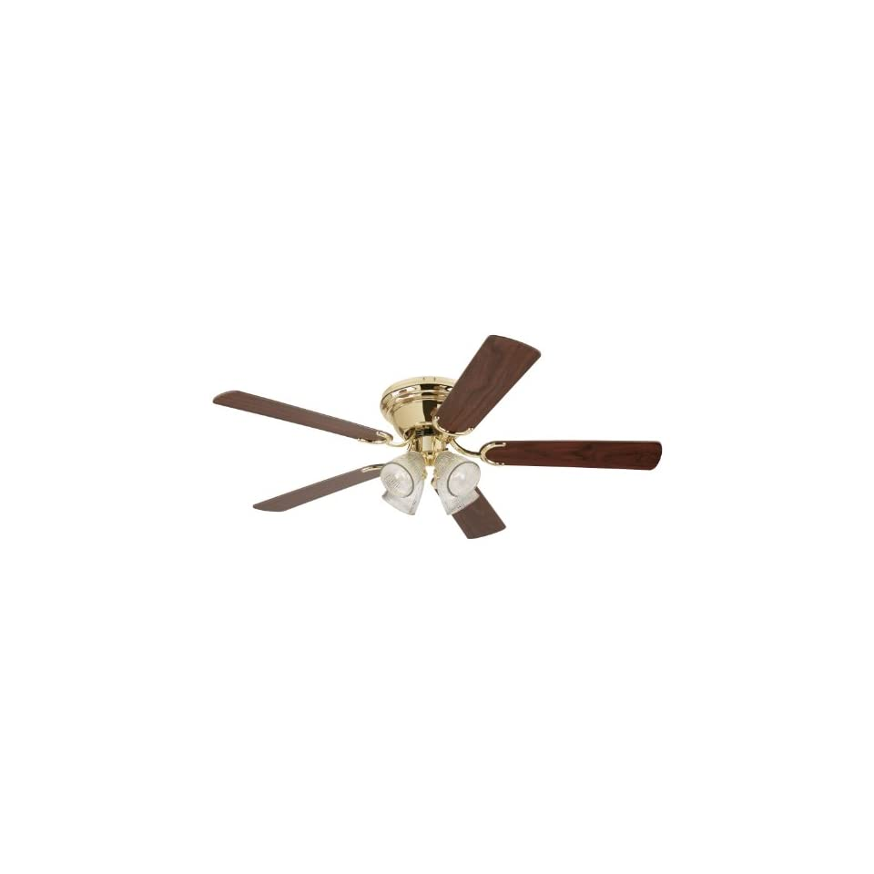 Westinghouse 7871600 Contempra IV Four Light 52 Inch Five Blade Indoor Ceiling Fan, Polished Brass with Clear Ribbed Glass Shades