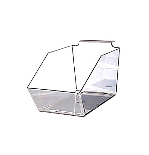AMKO SPAB-95 9 1/2''. Acrylic Molded Bin - Set of 5 Slatwall Dump Bin, Durable Plastic Containers, Wall Mounted Space Organizing Accessory. Retail Shelving and Wall Displays