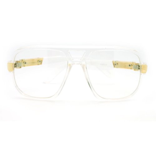 e84650293faa Geeky Oversized Run DMC Gazelle Eye Glasses Sunglasses - Clear Gold ...