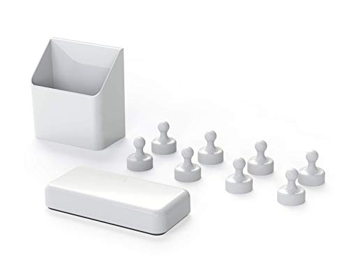- GlasMag Magnetic Accessory Kit for Glass Whiteboards: 8 White Pawns + Mighty Marker Holder + Classic Eraser