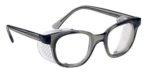 Glass Safety Glasses in Plastic Smoke Gray Safety Frame with Permanent Side Shields, 50mm Eye Size, Clear Glass Lenses by SAFETY GLASS