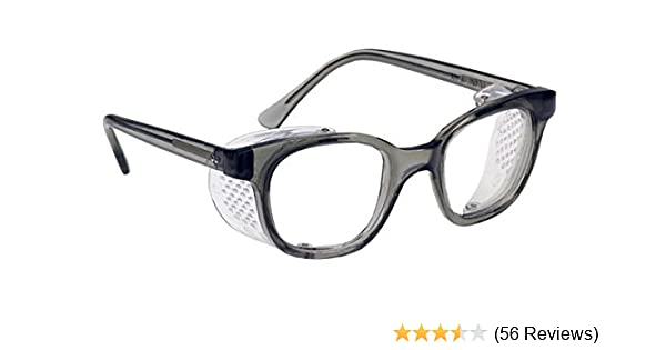 57f79fcda7 Glass Safety Glasses in Plastic Smoke Gray Safety Frame with Permanent Side  Shields