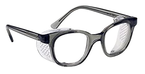 c45c1f0f4f Glass Safety Glasses in Plastic Smoke Gray Safety Frame with Permanent Side  Shields