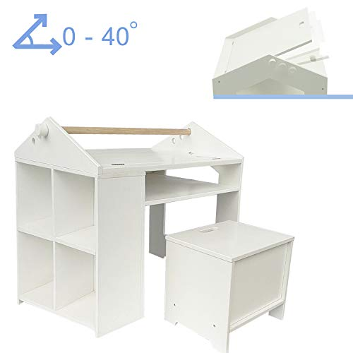 labebe 【New】 Kid Table and Chair Set, Wood Table Chair White for Child 1-5 Years Old, Baby Study Table, Adjustable Table Set for Drawing, Toddler Game/Drafting Table Chair, Infant Play Desk Table]()