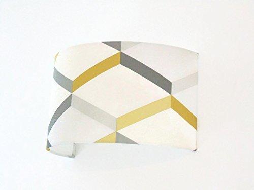 Applique murale géométrique scandinave jaune gris bandeau demi