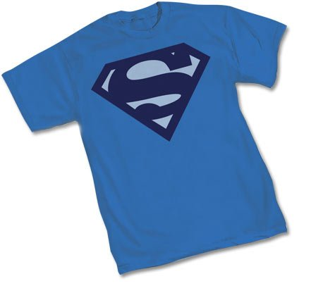 Superman Blue on Blue Logo Shield T-Shirt Adult Medium
