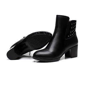 Black Botas libre cuero la de al 3in Chunky aire pulg negro talón invierno en confort de confort mujer 3 3 4 RwrzRA