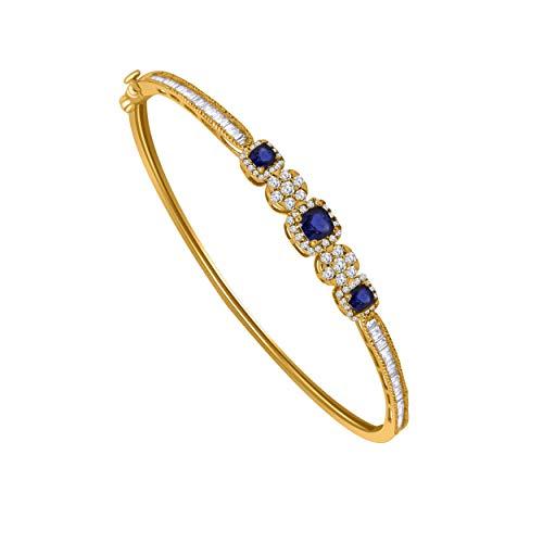 10K Yellow Gold Multi-Shape Sim. Gemstone & 0.79 Ct Diamond Halo Style Bangle Bracelet (blue-sapphire & real diamond)