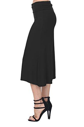 Nolabel B7_012 Womens Kint Comfy Chic Wide Leg Palazzo Gaucho Capri Culottes Pants Fold Over Waistband [Black/L]